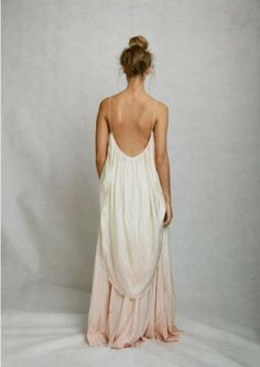 flowing pastel backless gown.  Love this.  Wish I knew what the front looked like.