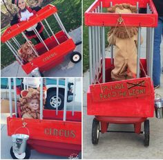 DIY Halloween baby toddler lion costume circ - Wagon - Ideas of Wagon - homemade halloween costumes. Wagon Halloween Costumes, Toddler Boy Halloween Costumes, Baby Halloween Costumes For Boys, Homemade Halloween Costumes, Halloween Kids, Circus Family Costume, Circus Costume, Baby Costumes, Homemade Toddler Costumes