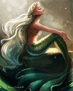 Flights of Fantasy Pretty green mermaid! Flights of Fantasy Mermaid Sign, Mermaid Fairy, Mermaid Tale, Manga Mermaid, Mermaid Artwork, Mermaid Drawings, Mermaid Tattoos, Drawings Of Mermaids, Fantasy Mermaids