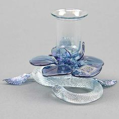 Murano Glass Flower Candle Holder | FREE U.S. SHIPPING OVER $49 SHIPS FROM USA !!!