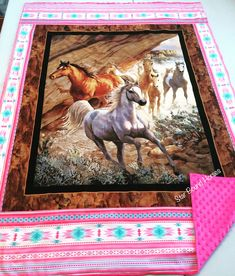 Handmade western and southwestern housewares and gifts for all members of the family. Southwestern Decorating, Southwestern Style, Little Girl Rooms, Little Girls, Western Babies, Running Horses, Minky Blanket, Throw Blankets, Equestrian Style