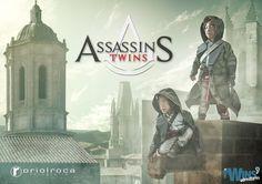 The Twins' Adventures se adentra en el videojuego Assassin's Creed y se transforman en Assassins Twins en una de sus nuevas aventuras. Oriol Roca fotografia  #TheTwinsAdventures #AssassinsCreed #AssassinsTwins #photoshop