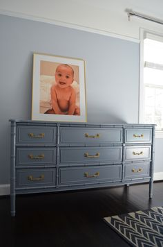 Thrift Store Gold Picture Frame with Baby J Shutterfly Print on Painted Bamboo Dresser/Henry Link Dresser - After