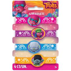 Accessorize like Poppy and friends at a Trolls birthday party with our Trolls Silicone Bracelets. For Trolls themed party supplies, shop Michaels.com.