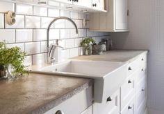corner farmhouse sink concrete counters - Google Search