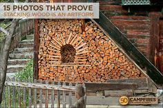 You want to build a outdoor firewood rack? Here is a some firewood storage and creative firewood rack ideas for outdoors. Lots of great building tutorials and DIY-friendly inspirations! Outdoor Firewood Rack, Firewood Logs, Firewood Storage, Stacking Firewood, Stacking Wood, Into The Woods, Diy Jardin, Got Wood, Green Landscape