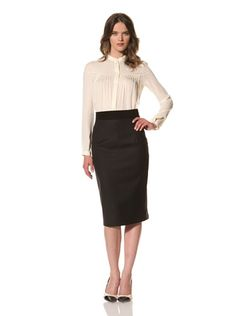 80% OFF HOLMES AND YANG Women's Suede-Trimmed Pencil Skirt (Black)