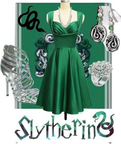 """Slytherin Party"" by heatherrenee-1 on Polyvore"
