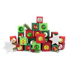 24 Adventskalender Kisten - zum selber befüllen - mit 24 Zahlenaufklebern - mit rot-grünen Kisten verschiedener Größen - von Papierdrachen Advent Calendar, Holiday Decor, Home Decor, Crates, Cardboard Paper, Decals, Random Stuff, Presents, Red