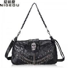 1e18135ec4 Punk Rock Skull Handbags Genuine Leather Women Messenger Crossbody Bags  Fashion Chain Tassel Female Shoulder Bags