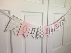 Gold and Pink Oh Baby Banner, Oh Baby Banner, Gold and Pink Baby Shower, Gold and Pink Banner, Baby Shower, It's A Girl Baby Shower Banner by RebekahCreations on Etsy https://www.etsy.com/listing/268212165/gold-and-pink-oh-baby-banner-oh-baby