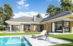 Projekt domu Wyjątkowy 2 201,09 m2 - koszt budowy - EXTRADOM Bungalow House Plans, Modern Architecture House, Take Me Home, Villa, Yard, Construction, House Design, How To Plan, Mansions