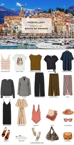 South of France in early summer? I have a South of France packing list to help you on your way. Head over to my post for what to pack and outfit ideas. I like the wrap shirt, wide leg pants, black dress (like this style) and the wrap dress. Summer Packing Lists, Packing List For Travel, Vacation Travel, Packing Light Summer, Paris Packing, Europe Packing, Travel Wardrobe, Capsule Wardrobe, Travel Outfit Summer