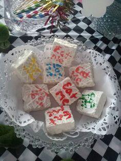 Alice in wonderland tea party eat me snack cakes