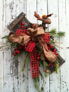 Sled Wreath for Christmas  Christmas Sled and by marigoldsdesigns, $72.00