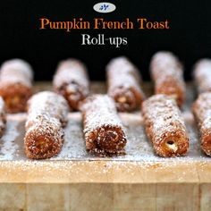 Pumpkin French Toast Roll-ups are an easy & fun way to satisfy your cinnamon cravings. simplysated