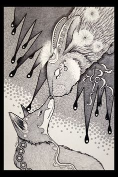 The Night Rabbit and the Dream Fox It's been too long since I've worked purely in inks. Night Rabbit and the Dream Fox Rabbit Drawing, Fox Drawing, Fox And Rabbit, Rabbit Art, Hare Pictures, Fox Tattoo Design, Rabbit Tattoos, Bunny Art, Fox Art