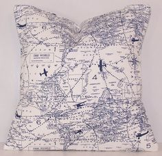 Dark Blue Pillow Cover World Map Planes by Cathyscustompillows