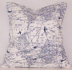Dark Blue Pillow, World Map, Planes, Travel,Toss Pillow, Navy Pillow, Lumbar,Couch Pillow,Throw Pillow,Bedding,Various Sizes, Blue and White