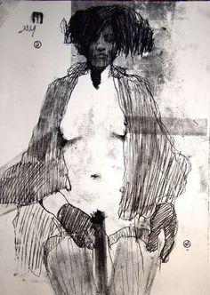 """Saatchi Online Artist: Michael Lentz; Monotype, 2012, Printmaking """"NUDE No. 2840 """""""