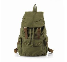 Super Large Leather Canvas Backpack/ Canvas Bag/ by RockCowStudio, $59.00