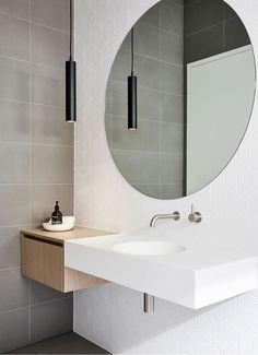 ZUNICA - Interior Architecture and Design Melbourne - Fitzroy North Residence Interior, Green Bathroom, Bathroom Layout, Round Mirror Bathroom, Bathroom Interior, Modern Bathroom, Bathroom Renovations, White Bathroom, Amazing Bathrooms