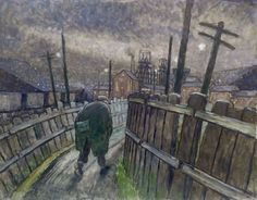 Miner on Pit Road by Norman Cornish