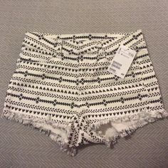 H&M black white aztec print cheeky cuttoff shorts H&M black and white Aztec  print cuttoff cheeky shorts. New with tags. Runs small. H&M Shorts Jean Shorts