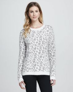 French Connection Leopard-Print Pullover Sweater