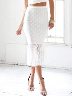 White Polka Dot Lace Fishtail Midi Skirt   Choies