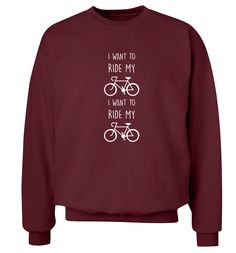 New to FloxCreative on Etsy: I want to ride my bicycle I want to ride my bik Tshirt funny slogan quote lyrics cyclist 70's 80's black grey maroon jumper XS - 3XL 55 (22.95 GBP)