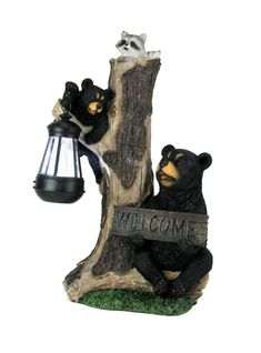 Forest Greeting Black Bears LED Solar Lantern Welcome Statue Indoor / Outdoor | eBay