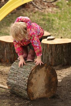 log sections ~ on their side and dug in to prevent rolling!! provide a great natural challenge and fun possibilities...