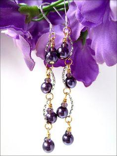 Purple Glass Pearl Women's Dangle Earrings  Sterling @ladygreeneyes  #bmecountdown #GiftsForMom #Jewelry