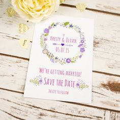 Floral Boho Save the Date Cards