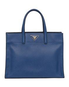 Saffiano Soft Triple-Pocket Tote Bag, Blue by Prada at Neiman Marcus.