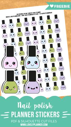 FREE Kawaii Nail polish planner stickers - PDF and Silhouette cut files included