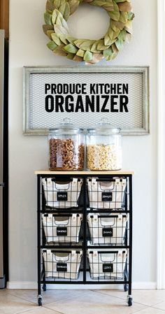 This simple cart and basket system is the perfect Produce Kitchen Organization solution!
