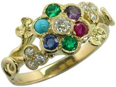 Dearest ring set with diamond, emerald, amethyst, ruby, emerald, sapphire and turquoise    http://www.london-victorian-ring.com/94lg-dearest-ring.htm#
