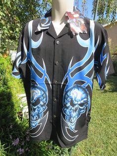 DRAGONFLY SHIRT MEDIUM Loyal To None pg797 Black Blue Flames Skulls NWT BUTTONS #Dragonfly #ButtonFront