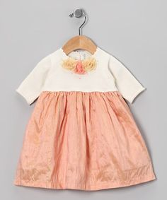Take a look at this Off-White & Peach Flower Silk Dress - Infant, Toddler & Girls by Victoria Kids on #zulily today!