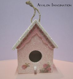 Glitter Birdhouse Shabby Chic Home Decor Accessory Ornament in pink and white with pink roses. via Etsy.