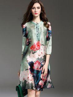 Vintage Stand Collar Half Sleeve Floral Print Shift Dress from DressSure.com #dresssure #fashion #dresses #HighQuality