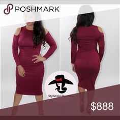 Gorgeous Burgundy Dress Look cool & collected with this gorgeous dress💋 BOUTIQUE-BRAND NEW🛍 Open Shoulder, Knee Length, Fitted, Long Sleeves. 92% Polyester 8% Spandex.  Model is wearing size Small. Available in S-M-L. True to size✅  PRICE IS FIRM- unless you bundle 3+ items✳️  🚫No Trades  Follow us on 📲IG: stylishgalboutique_    NOT FROM ASOS, only listed for exposure. ASOS Dresses Midi