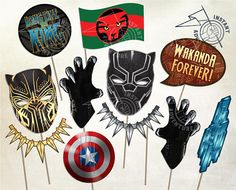 Black Panther Inspired Photobooth Prop Set - Defend Wakanda with these printable photobooth props inspired by the hit movie! Use with a photobooth or just as party decorations. *** Digital Product *** --- Personal Use Only --- WHAT*YOU*GET Both JPG files and PDF files are
