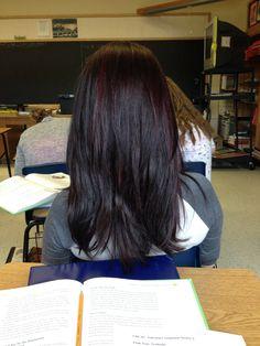 Got new hair!! It's a dark brown mixed with a dark purple highlight.