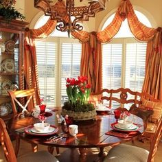 Traditional Dining Room Plates Design, Pictures, Remodel, Decor and Ideas – page… – Hazir Site Arched Window Treatments, Arched Windows, Shaped Windows, Decorating Your Home, Interior Decorating, Decorating Ideas, Decor Ideas, Interior Design, Traditional Dining Rooms