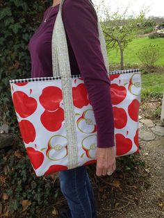 An apple for the teacher large oilcloth tote bag by NowandThenCt