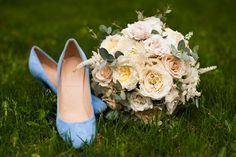 weddings, floral, floral design, blue shoes, bouquet, flowers, garden roses, chic, vintage, roses, astilbe, eucalyptus, spray roses, events, design, faye & renee event and wedding design, style, personals, bride, pretty  https://www.facebook.com/fayeandrenee