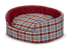 SNOOZA BUDDY PET BED - BLUE & RED TARTAN